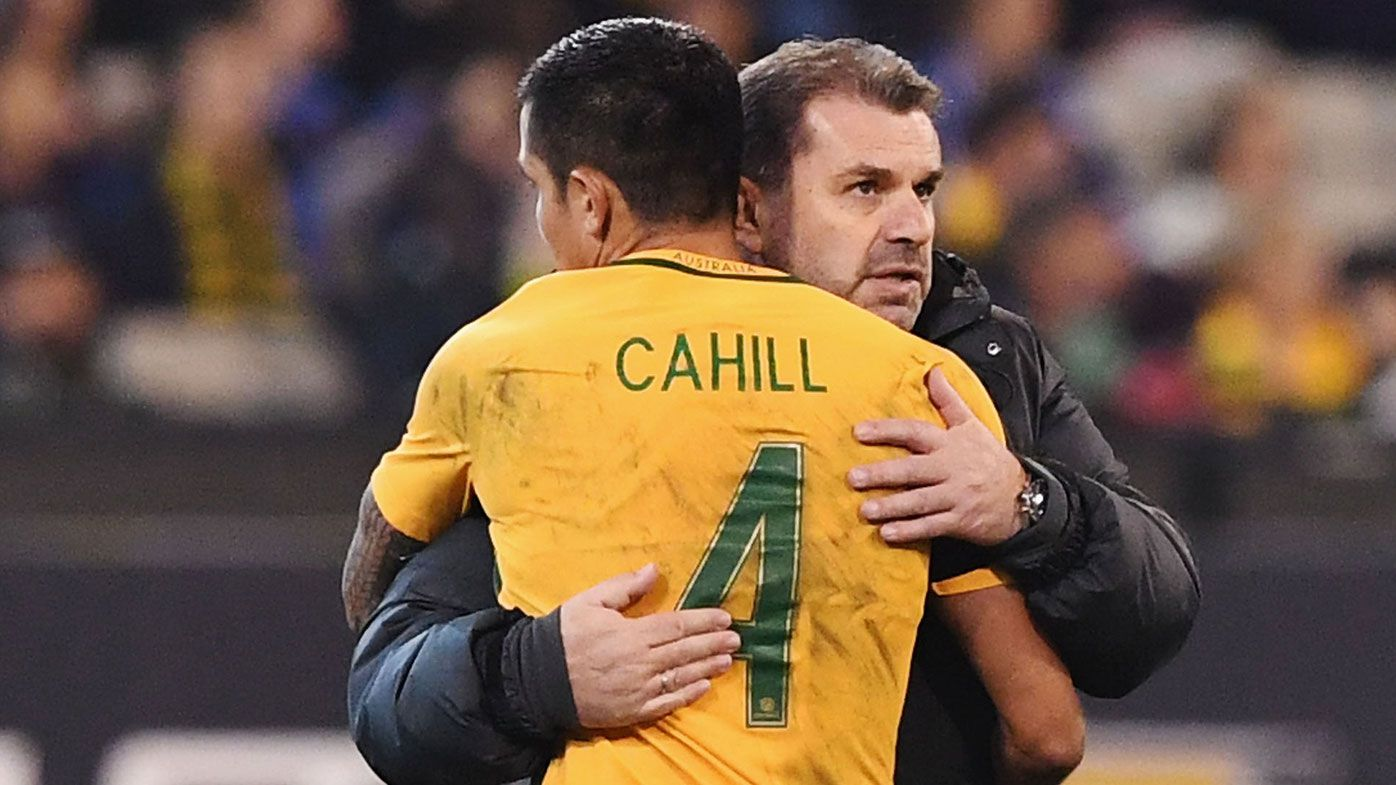 Tim Cahill of the Socceroos is hugged by Socceroos head coach Ange Postecoglou after coming off during the Brasil Global Tour match between Australian Socceroos and Brazil at Melbourne Cricket Ground on June 13, 2017 in Melbourne, Australia. (Photo by Michael Dodge/Getty Images for ICC)