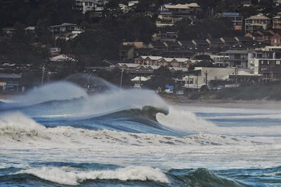 Wild surf swept most beaches along the east coast
