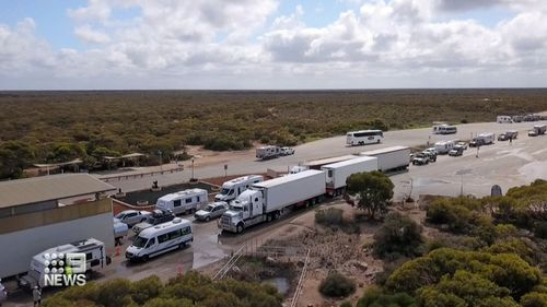 Trucks lined up for WA border checks