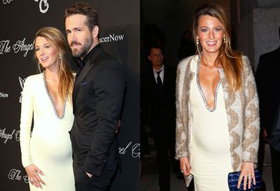 Blake shows off the perfect accessories - baby bump and Ryan Reynolds - at the Angel Ball in NYC.