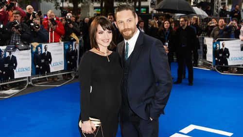 Hardy and his wife Charlotte Riley revealed they are expecting their first child at the premiere. (AAP)