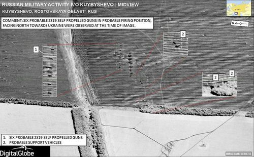 Satellite imagery that apparently shows six self-propelled guns and Russian support vehicles crossing the border in Ukraine. (NATO)