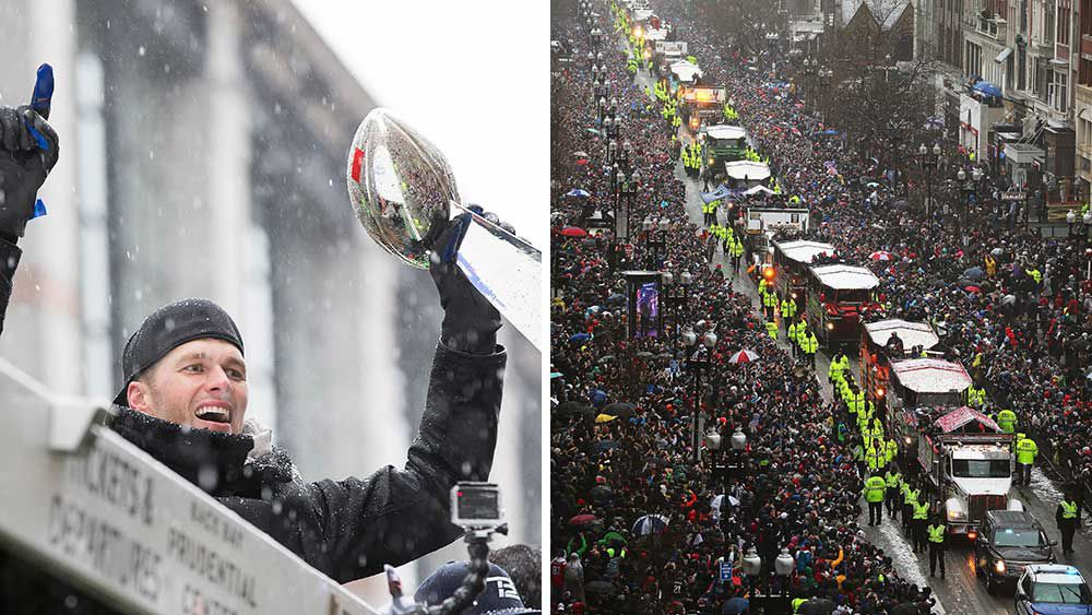 Patriots parade through the Boston snow