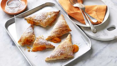 """Recipe: <a href=""""https://kitchen.nine.com.au/2017/12/01/16/33/apricot-turnovers-with-sugared-puff-pastry"""" target=""""_top"""">Apricot turnovers</a>"""