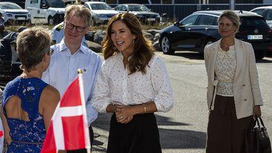 Princess Mary of Denmark arrives to Grenaa sea aquarium, Kattegatcentret.