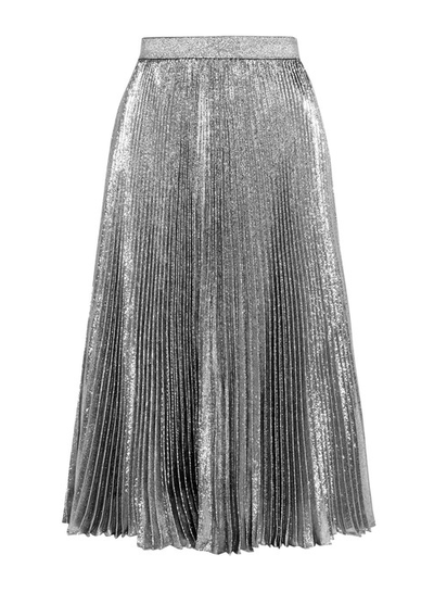 "<p>The skirt: <a href=""https://www.net-a-porter.com/au/en/product/727657/Christopher_Kane/pleated-silk-blend-lame-skirt"" target=""_blank"">Christopher Kane</a> silver metallic midi-skirt, $875</p>"