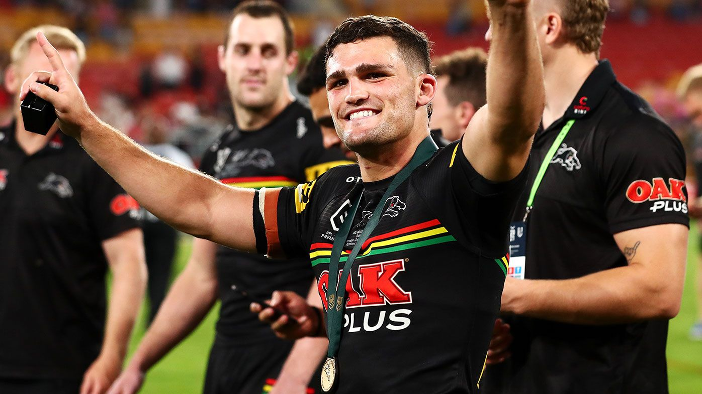 Nathan Cleary of the Panthers waves to the crowd as he celebrates victory in the 2021 NRL Grand Final