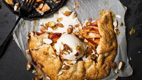 Gluten free peach galette with candied almonds