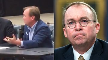 """Newly released video filmed in the lead up to the 2016 election shows Donald Trump's future chief of staff Mick Mulvaney calling the then-presidential candidate a """"terrible human being""""."""
