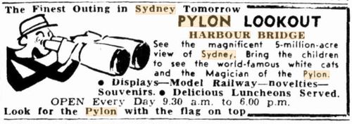 An advertisement in Sydney's Daily Telegraph newspaper on Boxing Day in 1953. Sydney Harbour Bridge cats