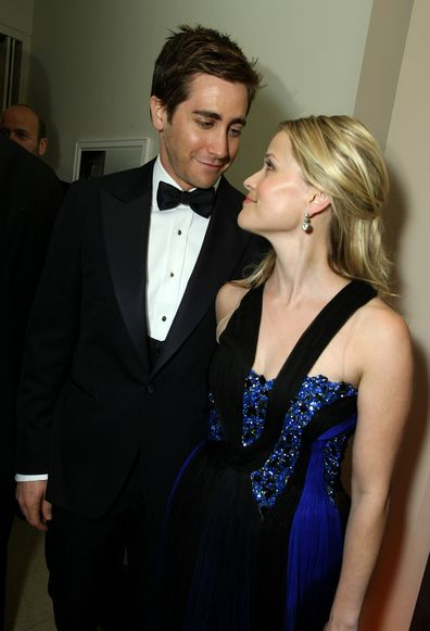 Jake Gyllenhaal and Reese Witherspoon attends the 2009 Vanity Fair Oscar party hosted by Graydon Carter at the Sunset Tower Hotel on February 22, 2009 in West Hollywood, California.