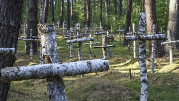 Birch crosses stand as memorials to soldiers who died while incarcerated at a German prisoner of war camp on the site.