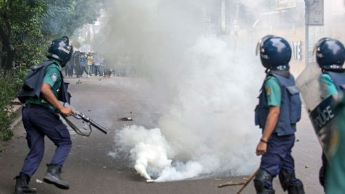 Police fired tear gas and hundreds of students were injured on Saturday when police reportedly fired rubber bullets into crowds.