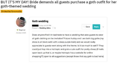 The bride wants everyone to go all out for the occasion.