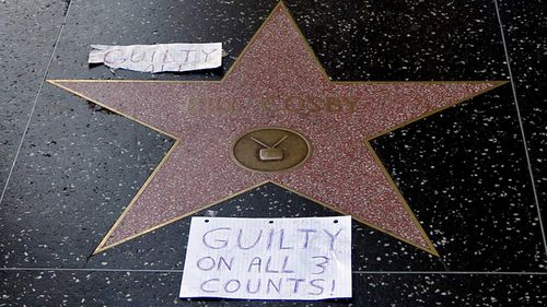 Cosby's star on the Hollywood walk of fame was vandalised. (AAP)