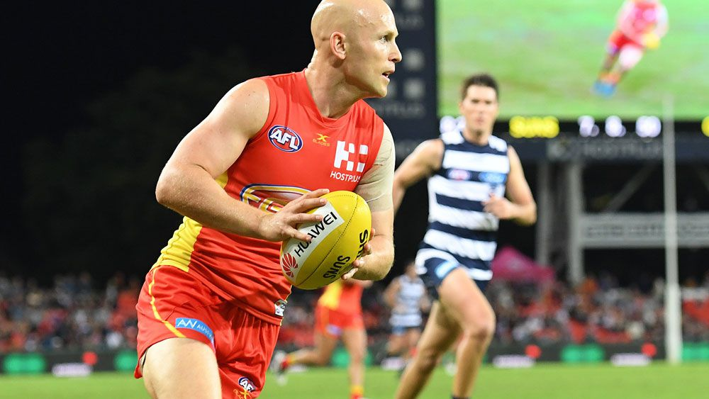Gary Ablett in action for the Gold Coast Suns against the Geelong Cats. (AAP)