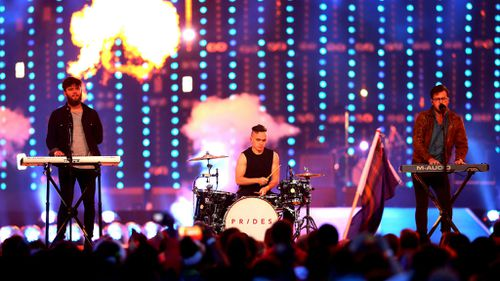 Stewart Brock, Callum Wiseman and Lewis Gardner of Prides perform during the Closing Ceremony for the Glasgow 2014 Commonwealth Games. (Getty)
