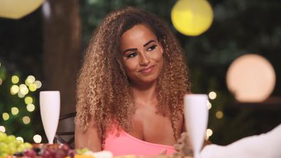 Amber on a date on Love Island UK.