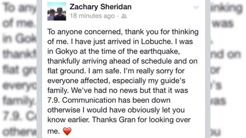 Zachary Sheridan has posted a message on Facebook to alert family and friends he is safe and well. (Supplied)