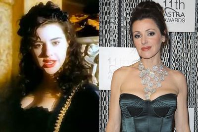 THEN: Big hair, loud makeup and sleek black corsetry...yep, it was the '90s alright!<br/><br/>NOW: Her move to Europe sure did glam up her whole look!