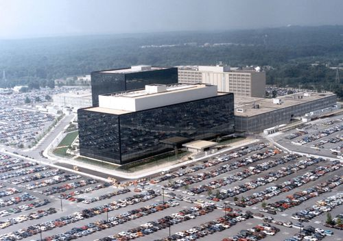 Aerial view of the headquarters of the NSA in Fort Meade, Maryland, USA