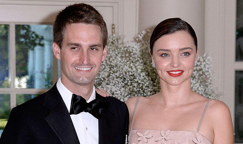 Snapchat co-founder, Evan Spiegel, and his fiance Australian model Miranda Kerr. (AFP)