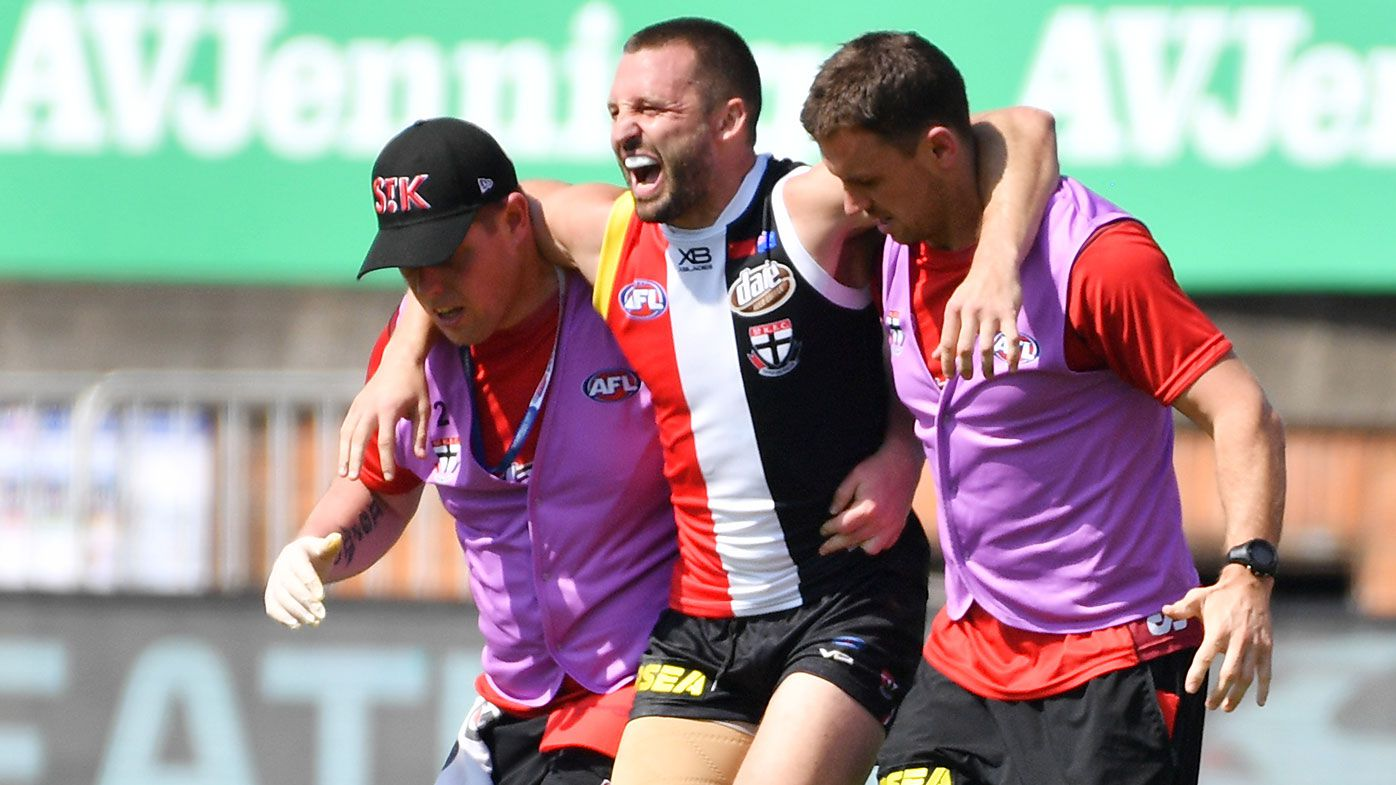 St Kilda captain Jarryn Geary suffers fractured left leg in training mishap