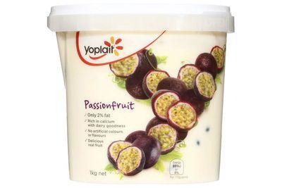Yoplait passionfruit yoghurt: 22.6g sugar per 175g serve