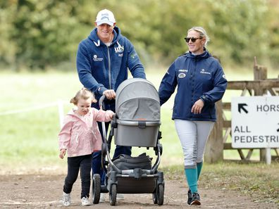 Zara and Mike Tindall with their daughters Mia and Lena