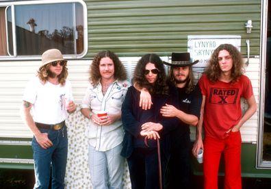 Leon Wilkeson, Billy Powell, Gary Rossington, Ronnie Van Zant and Allen Collins of Lynyrd Skynyrd