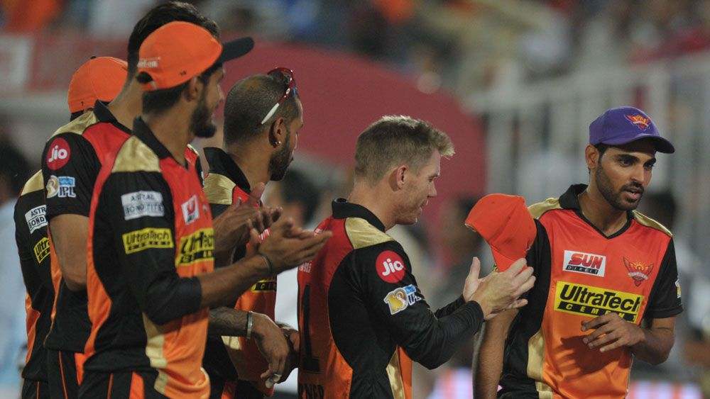 Australia's David Warner carries the bat in Sunrisers Hyderabad's win over Kings XI Punjab in IPL