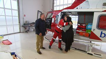 Dad crushed by tree reunited with 'hero' medic