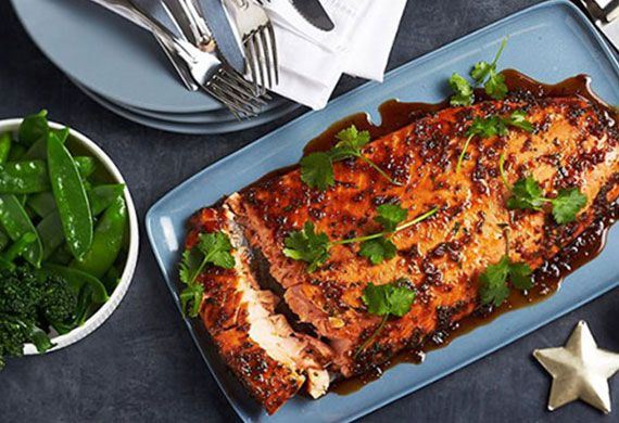 Honey, soy and ginger baked side of salmon