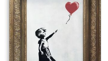 The spray-painted canvas 'Girl with Balloon' by artist Banksy