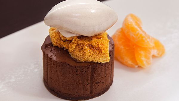 Scott Pickett's chocolate mousse with corn flake ice-cream