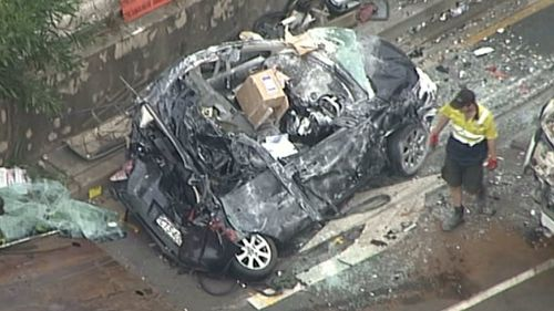 Six people were taken to hospital following the smash. (9NEWS)