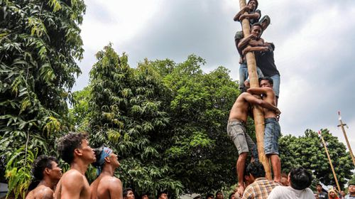 Indonesian laborers climb greased poles during a pole race to mark the May Day in Medan, North Sumatra, Indonesia. (AP).