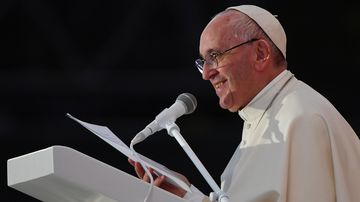 Pope Francis speaking in Poland. (AFP)