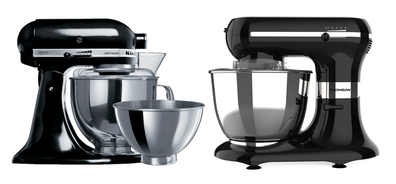 The KitchenAid Stand Mixer (left) side by side with Coles' stand mixer (right)