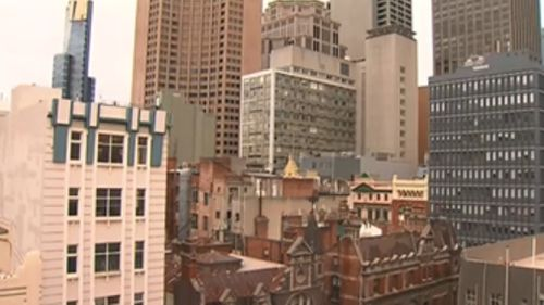 The burglar was spotted on the roof of a building in Melbourne's CBD. (9NEWS)