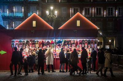 Christmas market in Plaza Mayor in Madrid