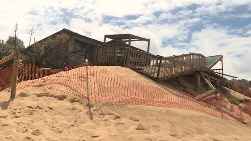Homes at Wamberal on the NSW Central Coast have been damaged in storms.