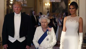 Donald Trump, Queen Elizabeth and Melania Trump at the royal banquet.