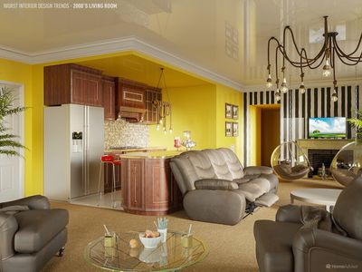 Open plan kitchen and living room from the 2000's