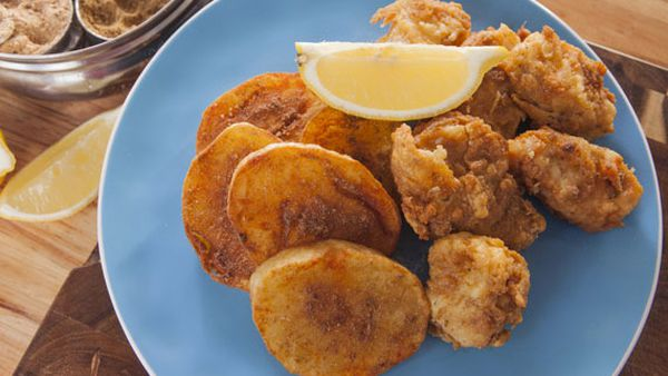 Anjum Anand's battered amritsari fish with smashed fried potatoes