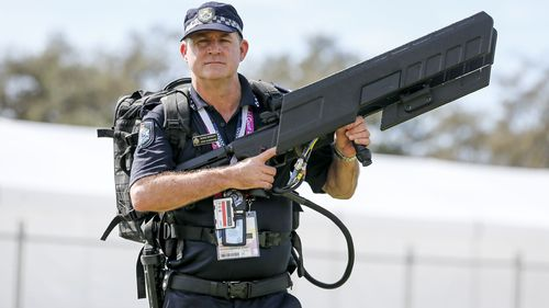 Queensland Police officers will be patrolling the Gold Coast during next month's Commonwealth Games with guns like these to protect the event from intrusive drones. Picture: AAP.