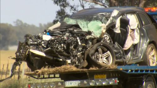 A mother and son were killed in a horror crash involving a truck on the New South Wales-Victoria border.