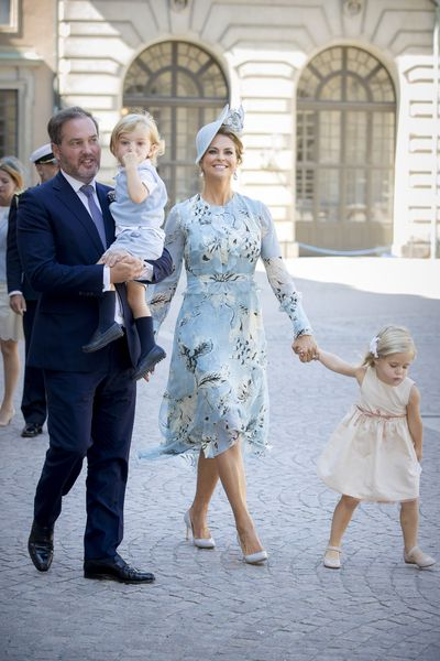 Princess Madeleine of Sweden with husband Chris O'Neil, Princess Leonore and Prince Nicolas of Sweden at a thanksgiving service in Stockholm, Sweden, July, 2017