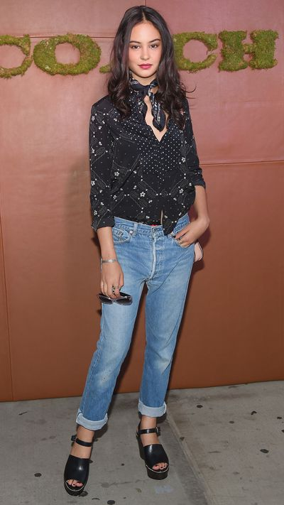 <p><strong>Courtney Eaton</strong> </p><p>The actress adds some western charm to her look via a neckscarf and paisley blouse. To avoid stepping into dress-up territory keep patterns modern and fresh.&nbsp;</p>