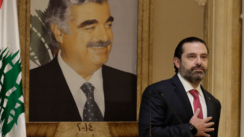 Saad Hariri speaks during an address to the nation in Beirut, Lebanon, Tuesday, Oct. 29, 2019.  (AP Photo/Hassan Ammar)